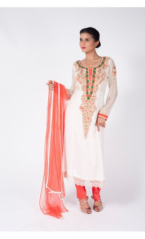 GHOST WHITE EMBROIDERED SHIRT WITH VERMILION STRAIGHT PANT ALONG WITH VERMILION  DUPATTA.