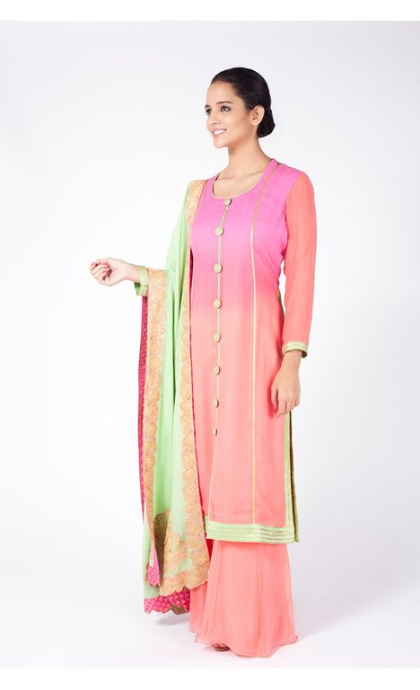 PINK AND PEACH OMBRE EMBROIDERED SHIRT WITH PEACH SHARARA ALONG WITH MINT GREEN DUPATTA.
