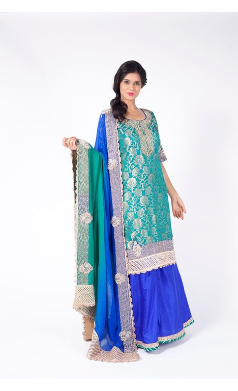 TEAL GREEN EMBROIDERED SHIRT WITH ROYAL BLUE SHARARA  ALONG WITH ROYAL BLUE TO TEAL GREEN DUPATTA.