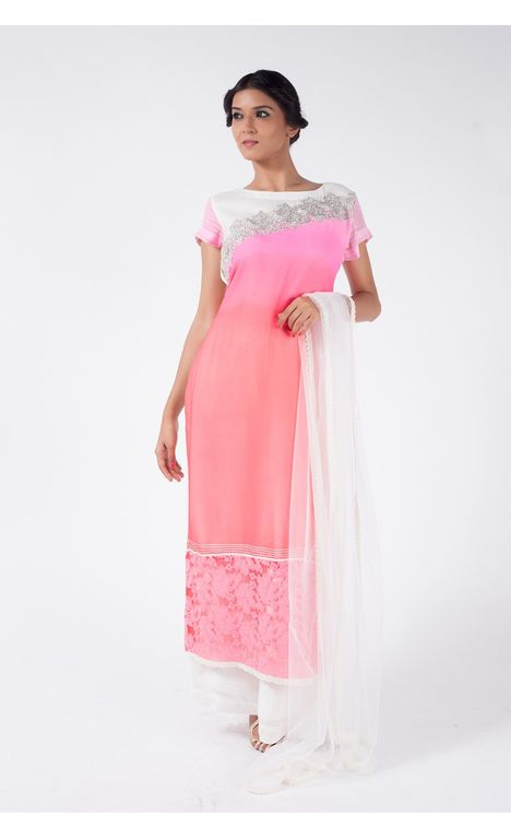 PEACH CORAL EMBROIDERED SHIRT WITH SPLASHED WHITE SHARARA PANT ALONG WITH  SPLASHED WHITE DUPATTA.