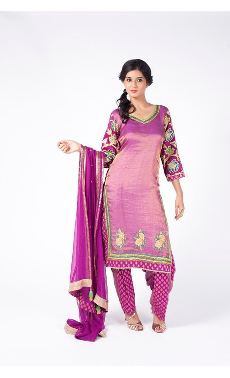 WINE EMBROIDERED SHIRT WITH JM SALWAR ALONG WITH WINE DUPATTA.