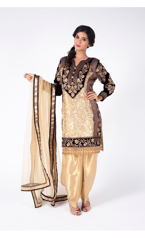 GOLD AND BLACK EMBROIDERED SHIRT WITH GOLD JM SALWAR ALONG WITH GOLD DUPATTA.