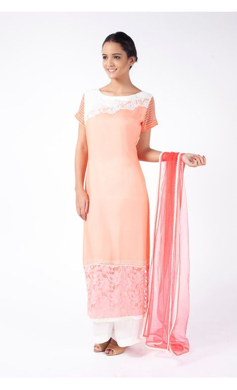 PEACH EMBROIDERED  SHIRT WITH SPLASHED WHITE SHARARA PANT ALONG WITH  BEAN RED DUPATTA.
