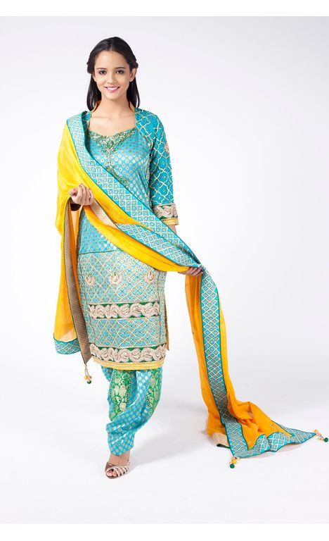 TURQUOISE EMBROIDERED SHIRT WITH JM SALWAR ALONG WITH MUSTARD YELLOW DUPATTA.