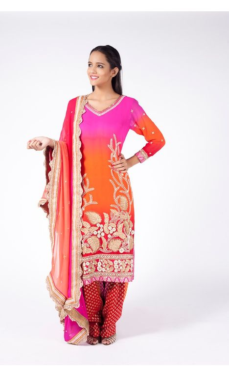 PINK LEMONADE AND PUMPKIN ORANGE EMBROIDERED SHIRT WITH JM SALWAR ALONG WITH PINK TO ORANGE DUPATTA.