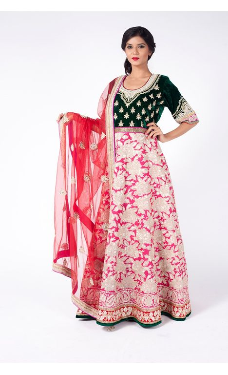 PINK AND DARK FOREST GREEN EMBROIDERED HEAVY KABBALAH WITH CHURIDAR ALONG WITH LOVE RED DUPATTA.
