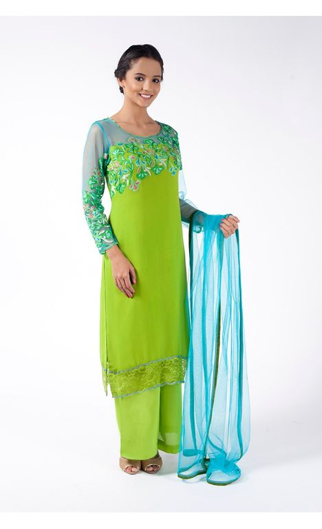 LAWN GREEN EMBROIDERED SHIRT WITH SHARARA PANT ALONG WITH DODGER BLUE DUPATTA