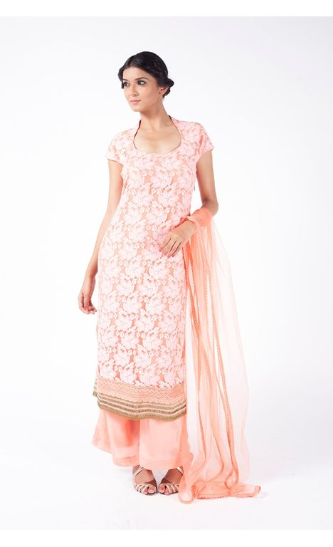 PEACH EMBROIDERED  SHIRT WITH SHARARA PANT ALONG WITH PEACH DUPATTA.