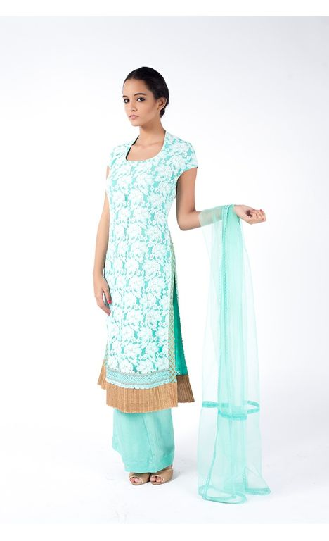 TURQUOISE EMBROIDERED SHIRT WITH SHARARA PANT ALONG WITH TURQUOISE DUPATTA.