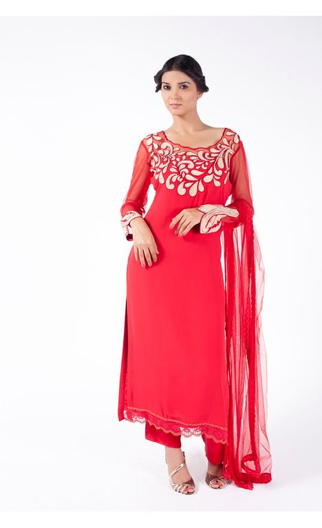 RUBY RED EMBROIDERED SHIRT WITH SHARARA PANT ALONG WITH RUBY RED DUPATTA.