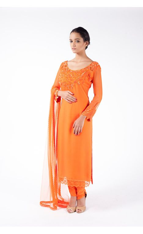 FESTIVE ORANGE EMBROIDERED SHIRT WITH STRAIGHT PANT ALONG WITH  FESTIVE ORANGE DUPATTA.