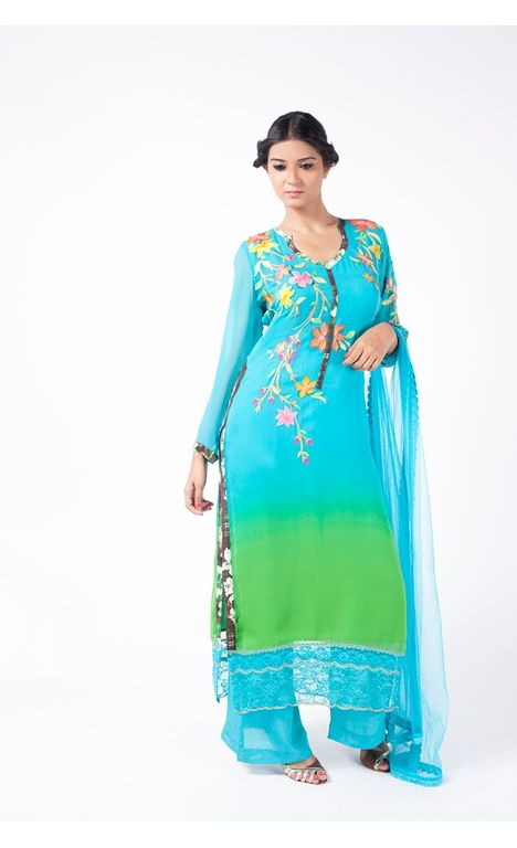 DODGER BLUE AND APPLE GREEN EMBROIDERED SHIRT WITH SHARARA PANT ALONG WITH DODGER BLUE DUPATTA.