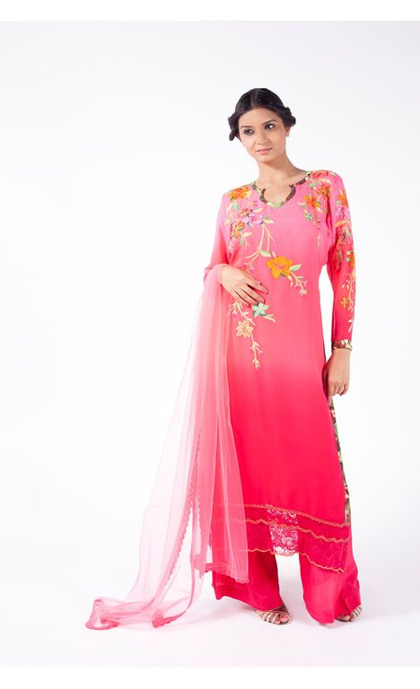 PEACH TO PINK EMBROIDERED SHIRT WITH SHARARA PANT ALONG WITH LIGHT CORAL DUPATTA.