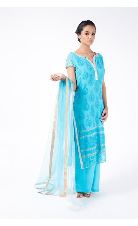 SEA BREEZE EMBROIDERED SHIRT WITH SHARARA PANT ALONG WITH TURQUOISE DUPATTA.