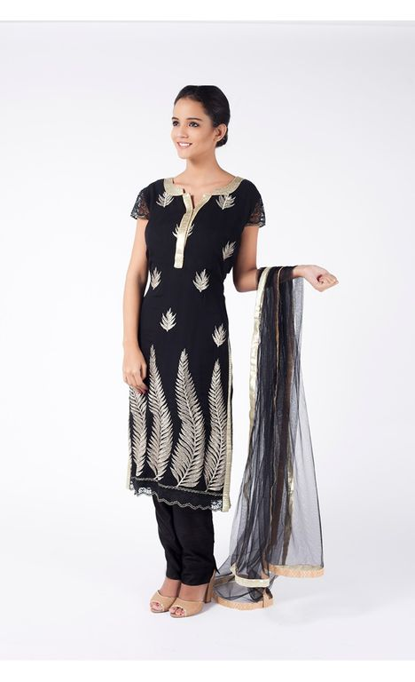 CELEBRITY BLACK EMBROIDERED SHIRT WITH STRAIGHT PANT ALONG WITH BLACKE EEL DUPATTA.