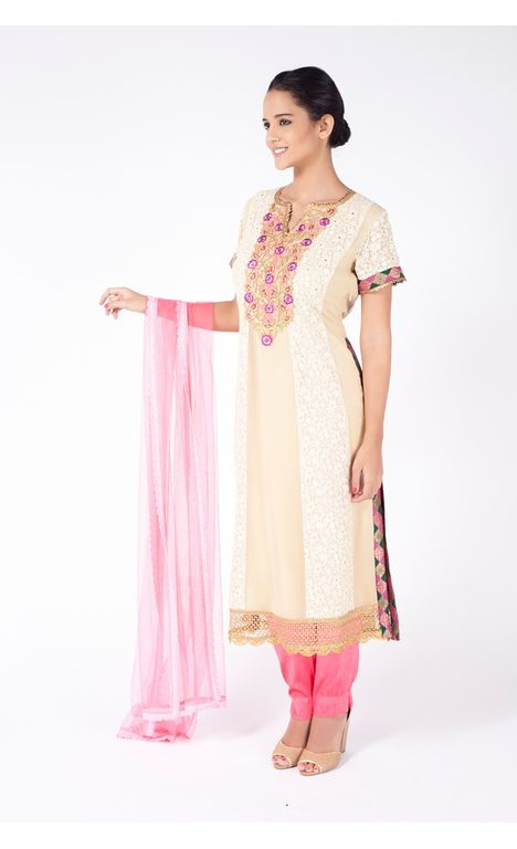 ECRU EMBROIDERED SHIRT WITH FUSHIA PINK STRAIGHT PANT ALONG WITH FLAMINGO PINK DUPATTA.