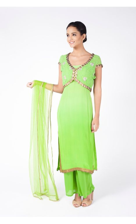 PERIDOT GREEN EMBROIDERED JACKET WITH SHARARA PANT ALONG WITH MINT GREEN DUPATTA.