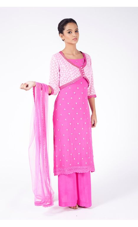 BRIGHT NEON PINK EMBROIDERED JACKET WITH SHARARA PANT ALONG WITH PINK DUPATTA.