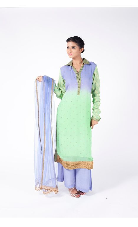INK BLUE AND DRAGON GREEN EMBROIDERED SHIRT WITH INK BLUE SHARARA PANT ALONG WITH INK BLUE DUPATTA.