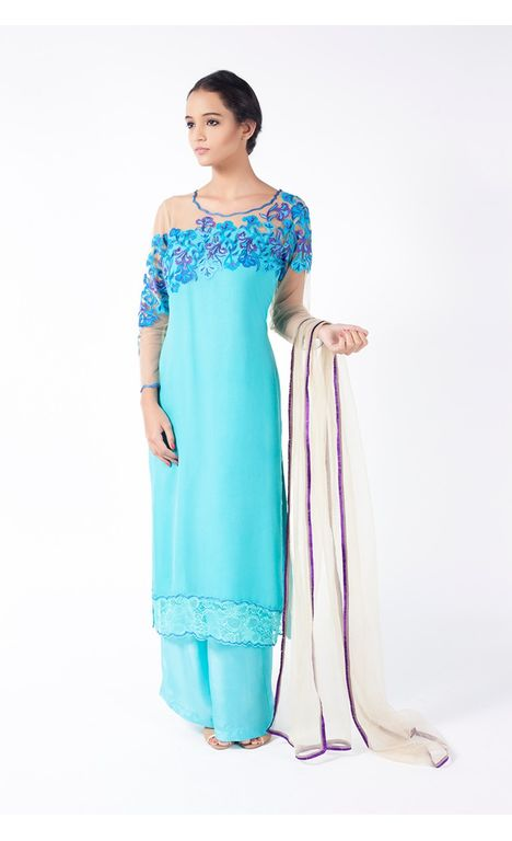 TURQUOISE EMBROIDERED SHIRT WITH SHARARA PANT ALONG WITH BEIGE DUPATTA.