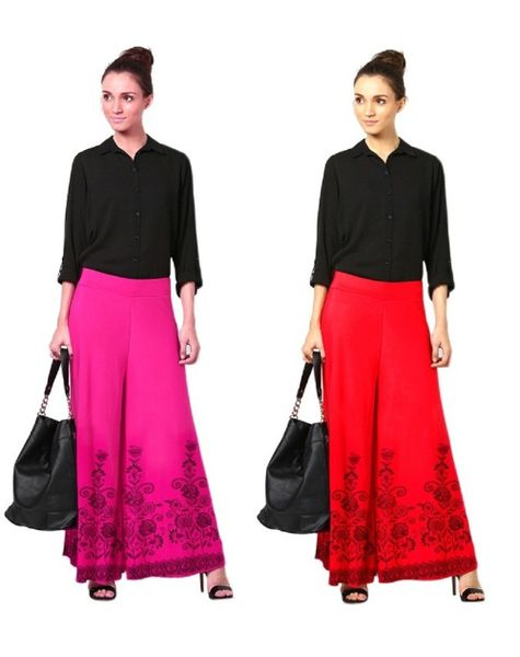 Abeez Pink Red Solid Viscose  Palazzo Combo