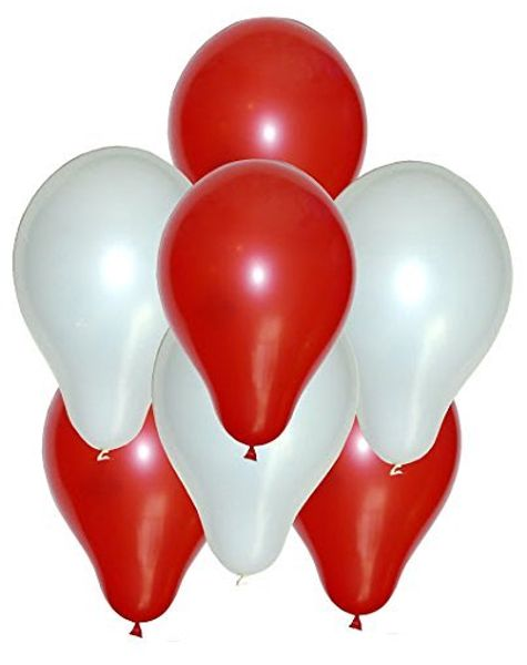Red & White Balloons Dual Color -100pcs