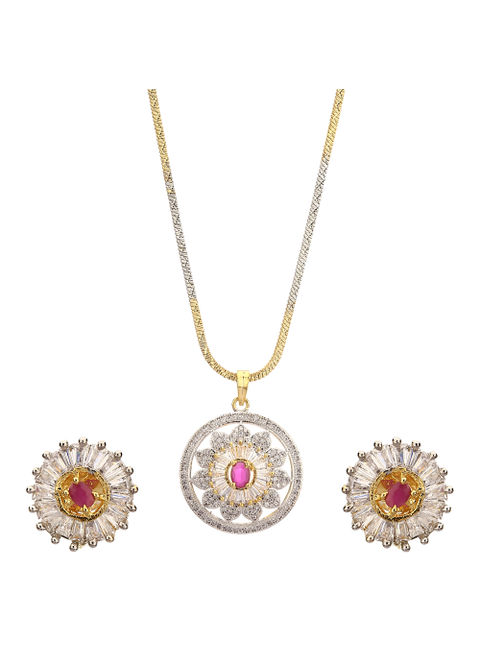 Zeneme american diamond gold plated pendant set with earring for zeneme american diamond gold plated pendant set with earring for girls women aloadofball Image collections