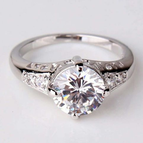 18K Gold Plated White Crystal CZ Ring