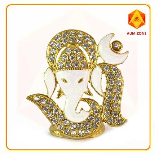 Om Ganesha White Studed Murthi