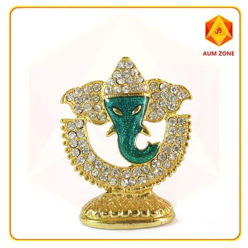 Ganesha on Half Moon Studed Murthi Green