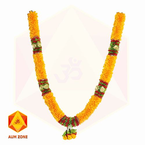 Orange Flower with Golden Roses and Flower bunch Garland