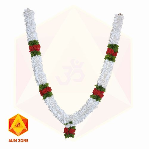 White Flower Garland With Red Rose and Leaf partition