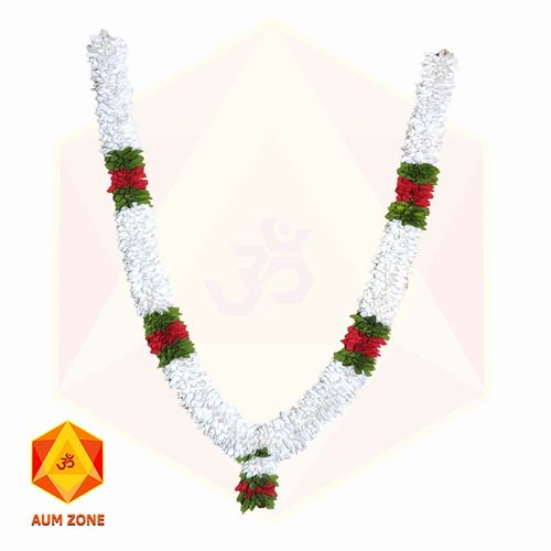 White Flower Garland With Red & Green Leaf partition