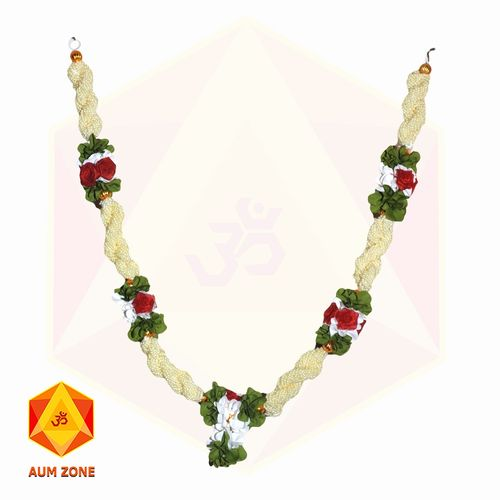 Bead Garland With Red Flower and Leaf