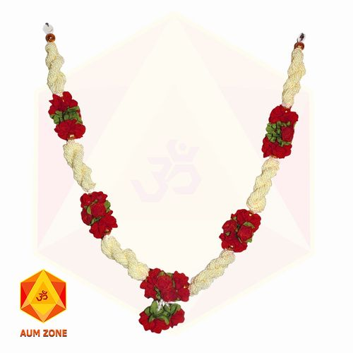 Bead Garland With Red Flower Bunch