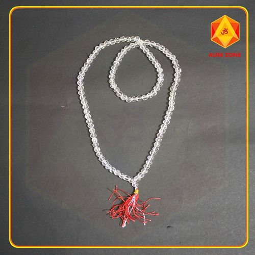 Natural Sphatik Mala Diamond Cut 6 mm (108 + 1 Beads)