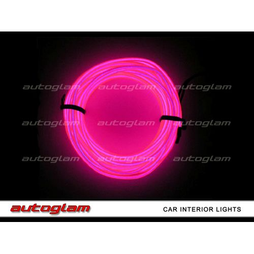 agil08 led el wire neon light 5m glow rope tube for car interior pink. Black Bedroom Furniture Sets. Home Design Ideas