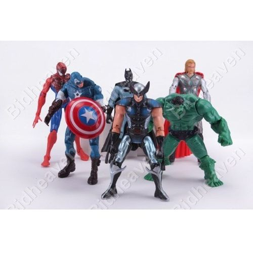 Avengers Batman Hulk Thor Spiderman Wolverine Captain America 6pcs Action Figure Set