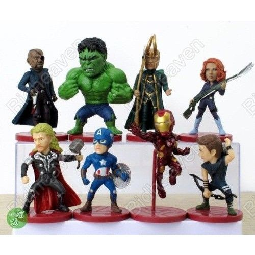 Avengers Iron Man Hulk Thor Loki Captain America Black Widow 8pcs Action Figure Set