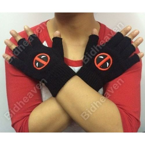 Deadpool Logo Woolen Winter Fingerless Knit Gloves for Men and Women