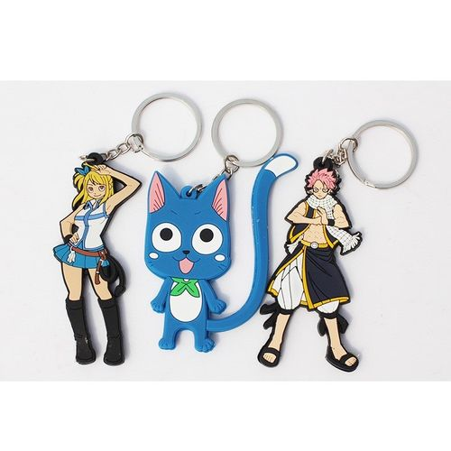 Fairy Tail Natsu Dragneel Lucy Heartfilia and Happy Keychain (3pcs Set)