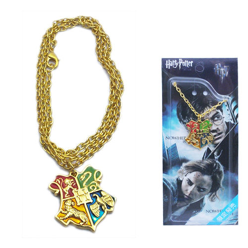 Harry Potter Hogwarts Logo Golden Chain Metal Necklace