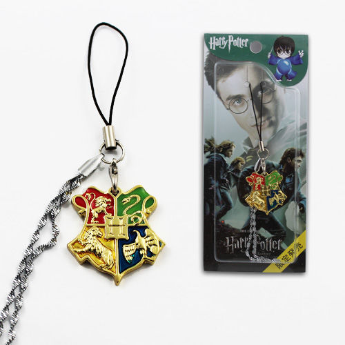 Harry Potter Hogwarts Logo Golden Metal Pendant Cell Mobile Phone Strap Charm