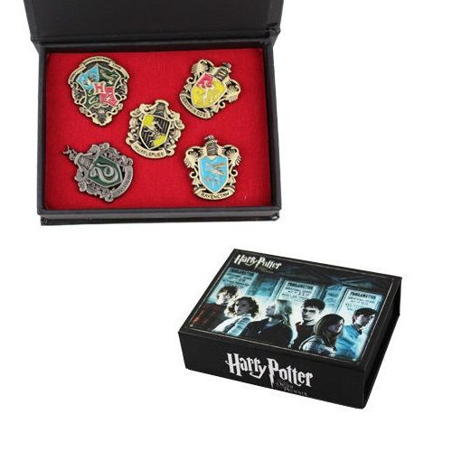 Harry Potter Hogwarts Slytherin Gryffindor Hufflepuff Metal Pin Badge Brooch - 5pcs Set