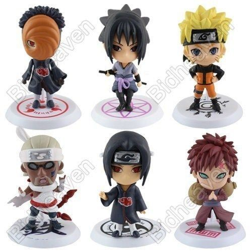 Naruto Shippuden Itachi Killer Bee Tobi Obito Gaara Sasuke  Action Figure - 6 Pcs Set