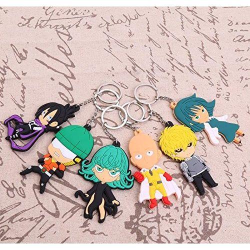 Anime One Punch Man Saitama PVC  Figures Keychain Keyring Pendants - Set of 6