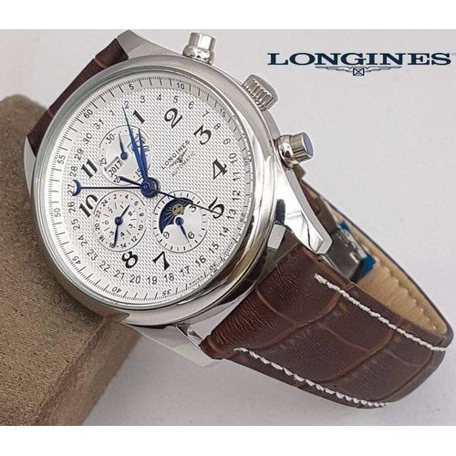 Replica longines brown leather strap watch replica watches india first copy watches online for Longines leather strap