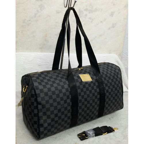 Louis Vuitton Black Check Duffle Bag