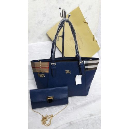 Burberry Blue Combo Wallet with Handbag