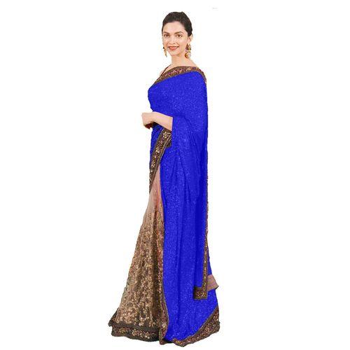 Designer Blue Color Georgette Statuesque Deepika Padukone Saree